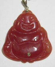 14K YELLOW GOLD RED JADE JADEITE LAUGHING HAPPY BUDDHA PENDANT 1.5 INCH 13.7 GR!