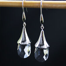 Clear Swarovski Elements Crystal Angel Tear Teardrop 925 Silver Drop Earrings
