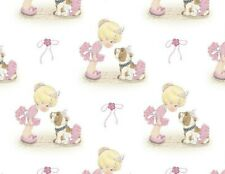 Fat Quarter Precious Moments Ballerina & Bull Dog Cotton Fabric Dancing Fq