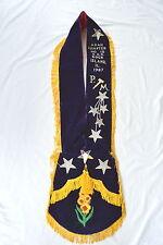 OES Order Eastern Star Sash Purple Velvet Fringe PM Gavel Stars Flowers 1987