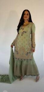 Pakistani Indian Shalwar Kameez Sharara Gharara Wedding Party Mint Green Suit...