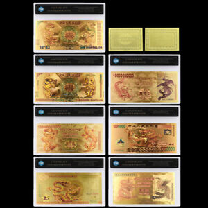Gold Foil Chinese Dragon Banknote for Money Currency Collection Gifts Art Craft