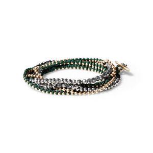 Chloe + Isabel Delicate Bead + Chain Multi-Wrap Bracelet  B336GR - NEW - RARE