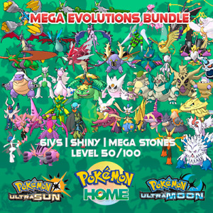 Shiny Mega Evolutions    Pokemon Home Premium   Ultra Moon & Ultra Sun   6IVS