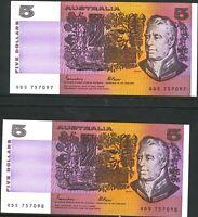 Australia vUnc $5 Pair QDS 757097 &98 Johnston Fraser OCRB Banknote Issues r209a