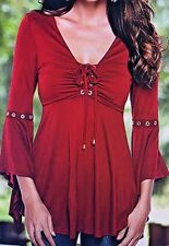 Venus Lace Up Grommet Detail Flare 3/4 Sleeves Flows Top Blouse Red Women's M