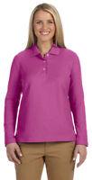Devon & Jones Women's Three Buttons 100% Cotton Long Sleeve Polo Shirt. D110W