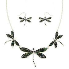 "Dragonfly Fashionable Necklace & Earrings Set - Abalone Paua Shell - 16"" Chain"