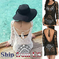 Women Bathing Suit Cover Up Crochet Lace Boho Dress Summer Beach Bikini Sundress