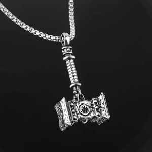 "Mens thor viking hammer norse pendant necklace unisex 24"" Lavastorm"