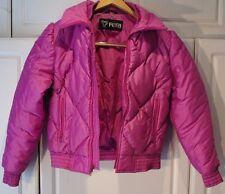 "Vtg - ""Fera"" - Ski Snow Jacket Size 8 (Fits S/M) Pink Nylon Quilted"