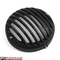 "Motorcycle CNC 5.75"" Headlight Light Lamp Grill Cover Black For Harley Davidson"