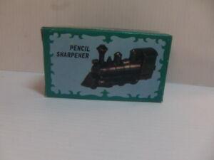 Antique Finished Die-Cast Steam Train Pencil Sharpener – unused in Box 1980s