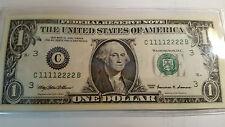 SUPER FANCY LADDER 1999 $1.00 FRN C11112222B + 3333 GEM UNCIRCULATED