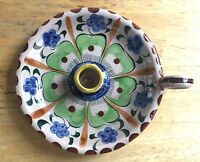 Vintage MEXICAN FOLK ART CANDLE HOLDER w/ Handles POTTERY Tonala Mexico Signed