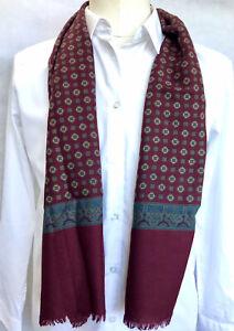 Mens Vintage SILK Wool Scarf Patterned Retro Cravat Necktie 60's 70's Gents
