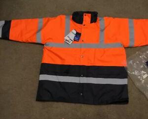 Portwest Hi-Vis Contrast Traffic Jacket Orange/Navy 4XL US467 New