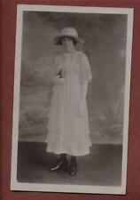 Lady white dress hat holding book Vintage 1919  Studio Photograph Postcard  ca46