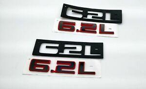 2x 2019-2020 Chevrolet Silverado 6.2L Black Red Emblem 84192174 GMC Sierra