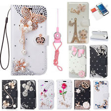 Handmade Bling Diamonds leather stand Wallet Phone Cases skins Cover & 2 straps