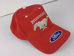 Red Ford Mustang Hat Cap Stitched Pony & Ford Script Logo Size 7 1/2