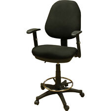 DRAFTING BAR COUNTER STOOL CHAIR WITH ARMS AND FOOT RING BLACK
