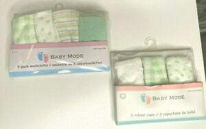 Baby Mode Signature Baby Washcloths-Infant hats: Green-Great PLUSH shower Gift!