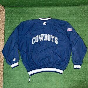 Vintage Starter NFL Pro Line Dallas Cowboys Football Blue Windbreaker Jacket XL