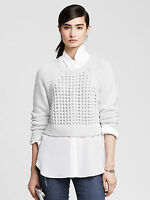 NWT Banana Republic Women's Mesh Cropped Pullover Color White Size M
