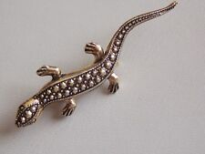 Sweet & Comical Gold Resin Faux Marcasite Lizard Brooch