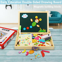 Wooden Magnetic Drawing Board Toy Educational Doodle Pad Puzzle For Children