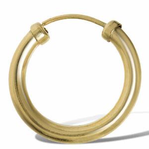 9ct Gold 15mm Capped Sleeper Hoop Mens Earring - (Single Earring)