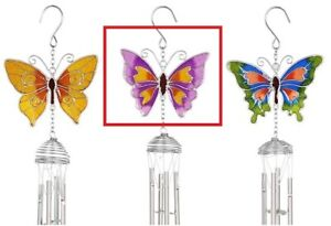 Purple Butterfly Windchimes - Spiral Pipes Sun Catcher