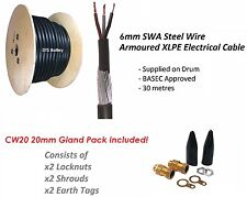 6mm 3 Core SWA Steel Wire Armoured Cable 30M BASEC + CW20 Gland Pack FREE P&P