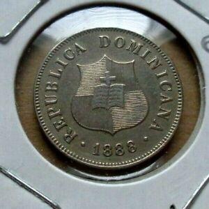 1888 A Dominican Republic 2 1/2 centavos coin KM#7.3 AUnc.