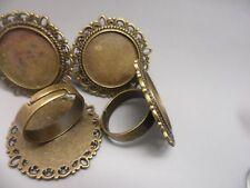 5 x 20mm Bronze Vintage Adjustable  ring bases Bezels settings~Ring Making Kit