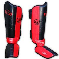 VELO Shin Instep Foot Pads MMA Leg Kick Guards Muay Thai Boxing Training