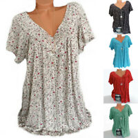 V Tops Plus Sleeve Womens Short Tee Neck Blouse Size Tunic Loose Floral T-shirts