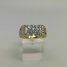 9ct Gold Hallmarked Cubic DAD Signet Ring.  Goldmine Jewellers.