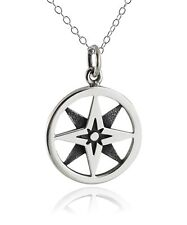 North Star Compass Necklace - 925 Sterling Silver - Nautical Graduation Gift NEW
