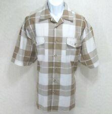 Buda Bean Shirt Mens Large Short Sleeve Button Front Polyester Blend Tan Plaid
