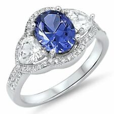 925 Sterling Silver Tanzanite CZ Clear Cocktail Anniversary Ring Size 8