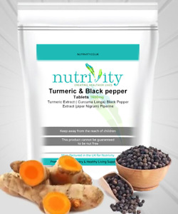 Turmeric & Black Pepper 1600mg Tablets Nutrivity UK for Liver and Joint Health