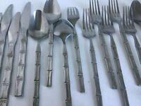 Vintage 36 Pc Set Lifetime Cutlery Bamboo Handle Stainless Steel Flatware Japan