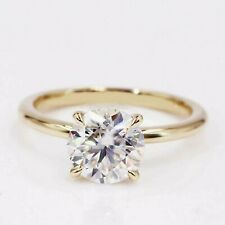2.00 Ct Round Cut Moissanite Solitaire Engagement Ring In 14k Yellow Gold Plated