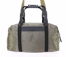 NEW $1300 DOLCE & GABBANA Green Nylon Duffle Bag Leather Travel Gym Shoulder
