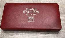 More details for 1974 iceland 500 & 1000 kroner 2 proof silver coins sealed in original case rare