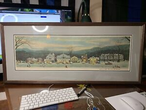 Norman Rockwell Signed Print of Christmas Main Street