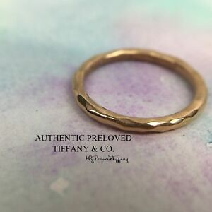 Authentic Tiffany & Co Paloma Picasso Rose Gold Hammered Band Ring 18k #5