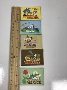 Peanuts Snoopy Magnets Lot of 5 Australia, Canada, Germany, Italy, & Mexico